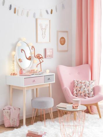 Esprit sacandinave plutôt girly chez Maisons du Monde, dans la nouvelle gamme 'Modern Copper'...